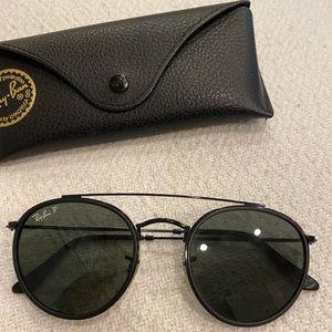 Ray-Ban Polarized Round Double Bridge Sunglasses